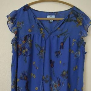 Cece floral/bird blouse with tassels